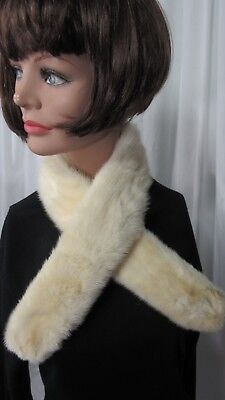 Vintage White Mink Fur Collar Velvet Lined 35""