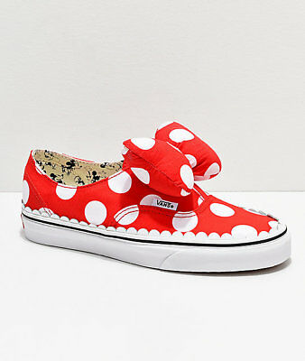 NEW! Vans x Disney Authentic Minnie's Bow Tie Slip-On Mickey Shoes Mens Womens