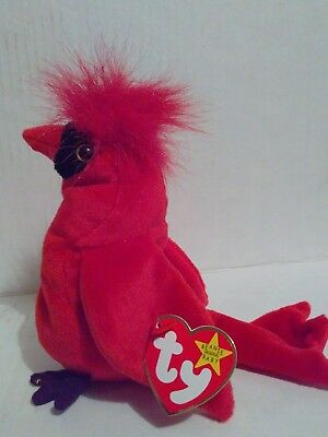a85b564df57 TY Beanie Baby MAC Cardinal Bird with 3 Errors Rare and Retired  04225 with  Tag