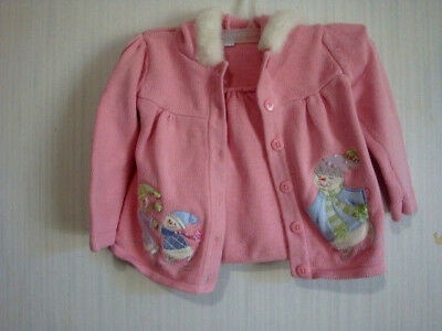 Infant Baby Girl's SZ 24 MOS Pink Furry Hooded Sweater Appliqued Snowmen
