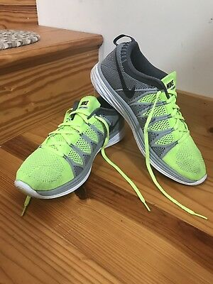 low priced ab3b0 35c00 Men s Nike Flyknit Lunar 2 Running Shoes. Fluorescent Yellow Grey. Size 10.5