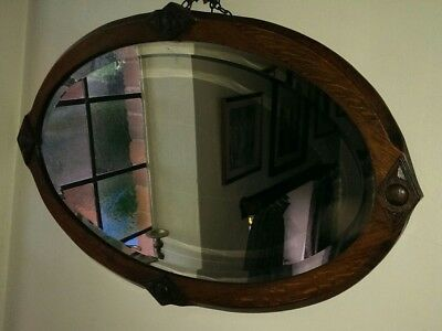 Antique Solid Oak Arts & Crafts Oval Wall Mirror 80 x 49 cms
