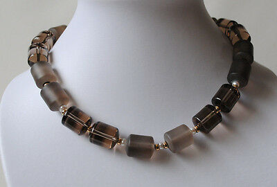 Smoky Quartz Chain with Pearls, Gemstone Necklace with Smoky Quartz Cylinders