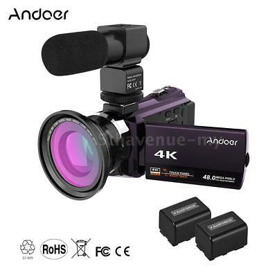 Andoer 4K 1080P 48MP WiFi Digital Video Camera Camcorder Recorder with 2pcs D1A2