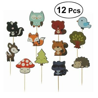 48pcs Forest Animal Cake Toppers Cute Cupcake Decoration for Birthday Kids Party