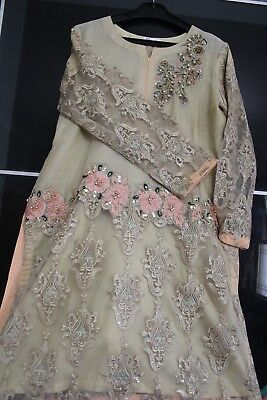 Beige shalwaar kameez with net embroidery- Pakistani Party Clothes