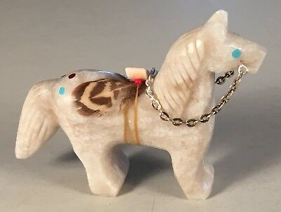 Navajo Carved Alabaster Horse Fetish w/ Offering & Inlays by Ben Livingston, NEW