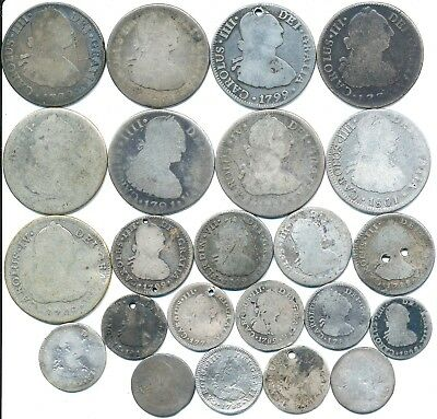 23 Old Silver Reale Coins From Mexico 1775-1809