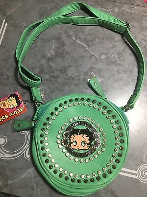 Betty Boop collectible rhinestone purse bag NWT Double Zipper Faux Leather