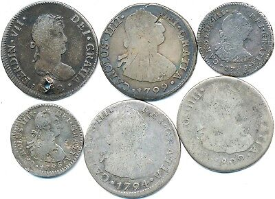 6 Old Silver Reale Coins From Peru 1788-1812