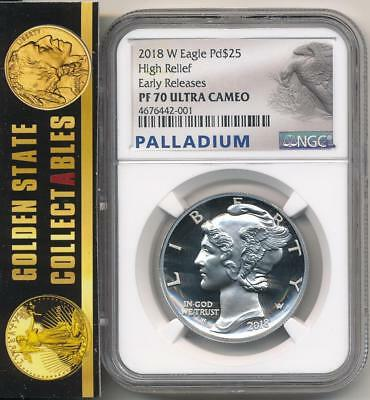 2018 W $25  Proof Palladium Eagle 1 Oz. Ngc Pf70 Ultra Cameo Early Releases +Ogp