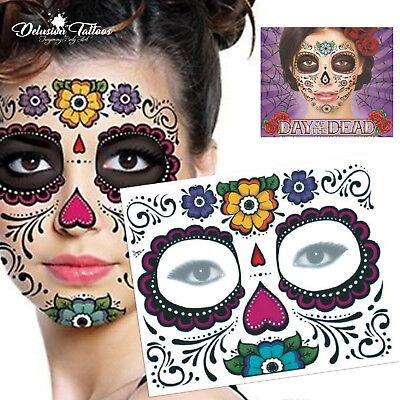 Day Of The Dead Face Temporary Tattoo Transfer Mask Halloween Sugar