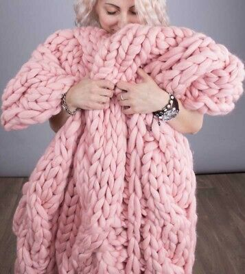 Handmade Wool Knitted Blanket Soft Chunky Yarn Bulky Throw Thick 120*150cm Pink