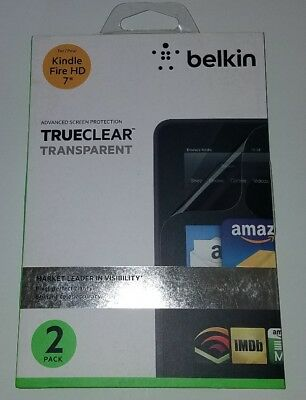 "New Belkin Screen Protector for Kindle Fire HD 7"" tablet TrueClear 2 Pack"