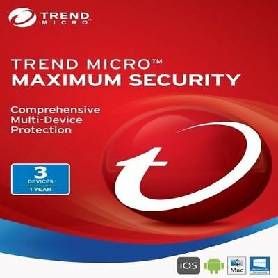 Trend Micro Maximum Security 12 (2018) | 1 Year Licence | 3 Devices