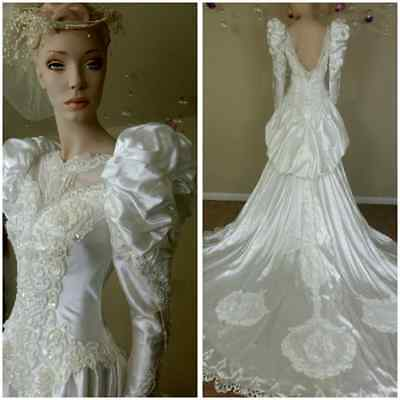 Vintage 80s white wedding gown with train by Ronny Fashion size 10