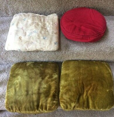 Lot of 4 Vintage Pillows - Round Corduroy, Square Hand Stitched , 2 Crush Velvet