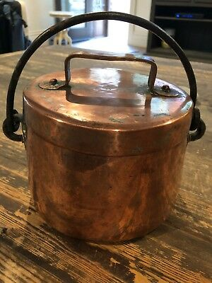 Vintage FRENCH COPPER Lidded Stockpot W/Wrought Iron Handle,c.1910-1930s
