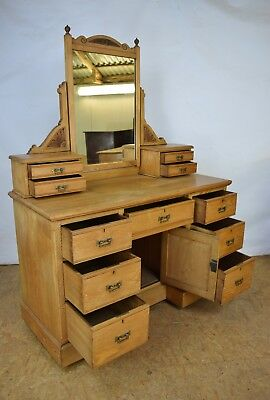Victorian Dressing Table, Antique Solid Pine Dressing Table, Bedroom Furniture