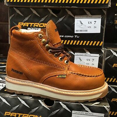 2935a3c89b89 Men s Work Boots Moc Toe Genuine Leather Lace Up Safety Brown Botas Honey