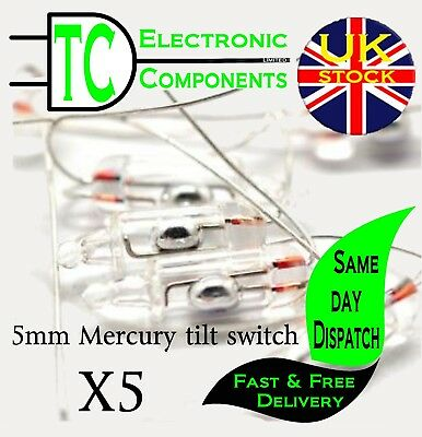 3mm, 5mm, 6mm, 10mm Mercury Tilt Switch  Sold in packs of 5  **UK SELLER**