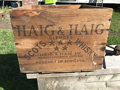 Vintage Haig and Haig Scotch Whiskey Bottle Wood Wooden Crate 1950 Dated