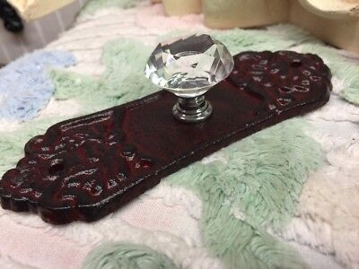 Cast Iron Shabby Glass Crystal Door Knob Wall Hook Drawer Victorian Farmhouse