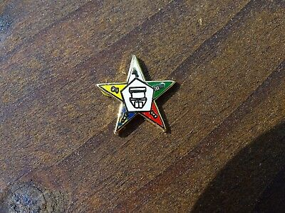 Rare Old Masonic Order Of Eastern Star Oes Enamel Multicolor Star From Jewelry
