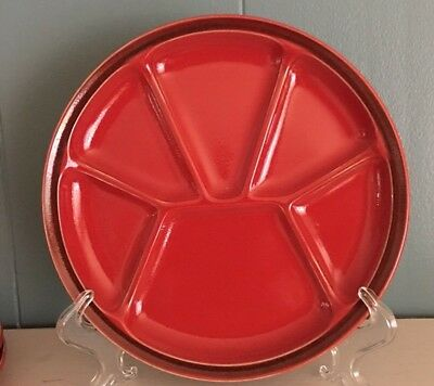 Gien Red Stoneware 8 1/4 Inch Red Fondue Plates Set Of 3