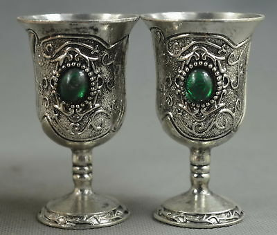China Collectable Handwork Miao Silver Carve Flower Rattan Inlay Agate Wine Cup