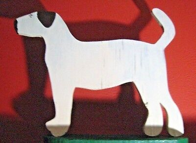 Hound Dog Folk Art, Painted Wood Cut Out On Base, Hand Made Primitive 1950s