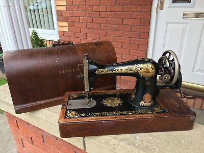 Antique Vintage Retro Singer 15k Handcrank Sewing Machine1922 Sphinx decal