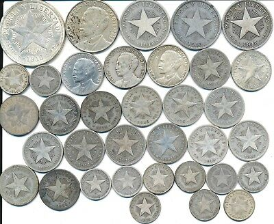 35 Old Silver Coins From Central America 1915-1953