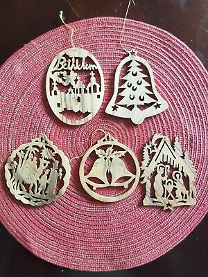4 pieces Olive Wood Christmas Tree Decoration, Handmade Bethlehem Holy Land