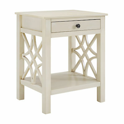 Linon Mdf And Pine Wood Side Table In Antique White Finish