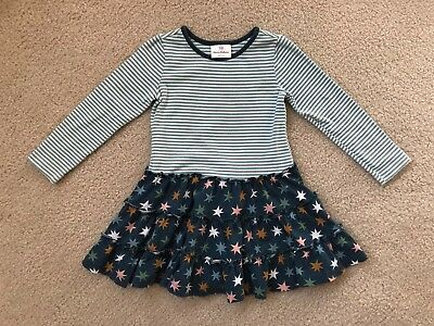 T61 L/S Dress Hanna Andersson 100cm 4y Tiered Skirt Cotton Knit Stars Stripes