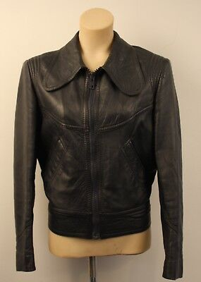 SMALL   ORIGINAL VINTAGE 1970s LEATHER JACKET. UNISEX. BOMMER STYLE.