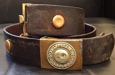 Imperial German,Early WW1 Prussian Enlisted Mans Buckle & Maker/Date/Marked Belt