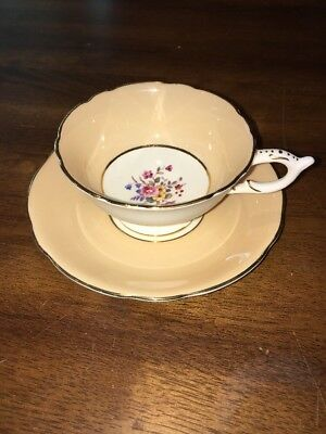 Coalport Peach Floral Pedestal Tea cup and saucer  English Gilded Gold EC