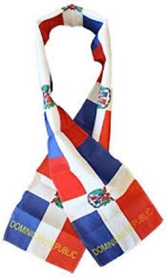 "Dominican Country Lightweight Flag Printed Knitted Style Scarf 8""x60"""