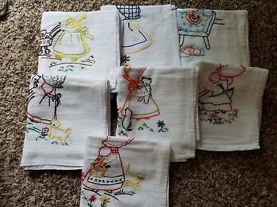 Set of Handmade Embroidered Dish Towels