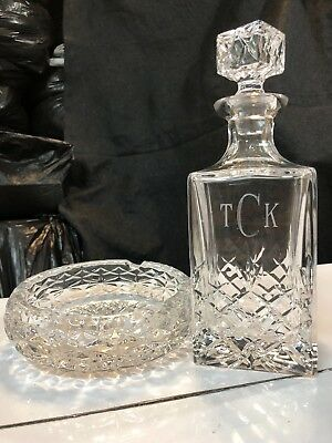 "Cut Glass Crystal ""TCK"" Decanter Whisky and Crystal Ashtray Vintage Set"