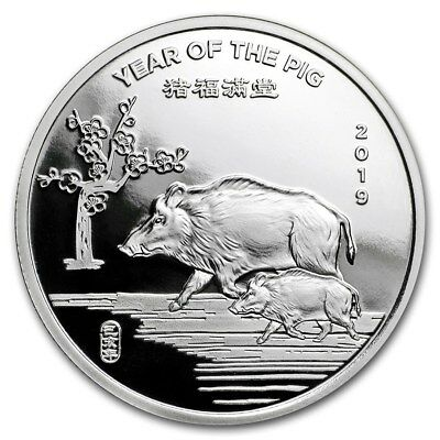 1/2 oz .999 Solid Silver Art-Round/Coin: 2019 Year of the PIG, Chinese Zodiac