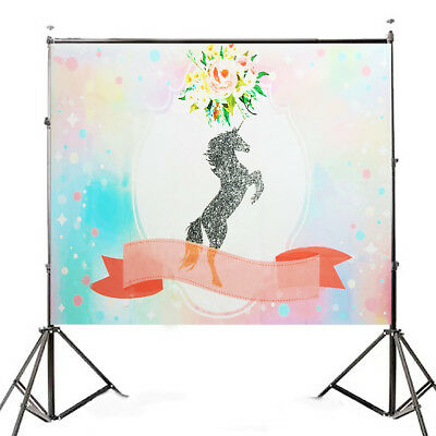 [NEW] 7x5ft Silver Unicorn Pink Flowers Shower Photography Backdrop Studio Prop