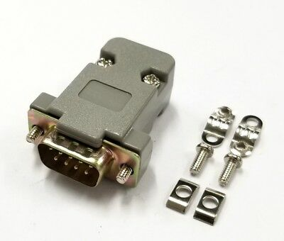 NEW 9 Pin Male D-Sub Cable Mount Connector with Plastic Cover & Hardware