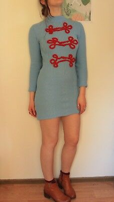 Vintage Baby Blue Wool Oriental Style Embroidered Mini Dress (S)