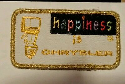 """RARE VINTAGE happiness is CHRYSLER (FISHING) Sew on Patch 3""""X2"""""""