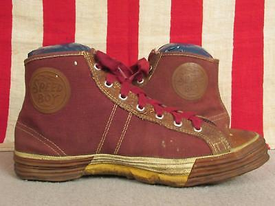 Vintage 1930s Speed Boy Canvas Basketball Sneakers High-Top Shoes Sz 6 Antique