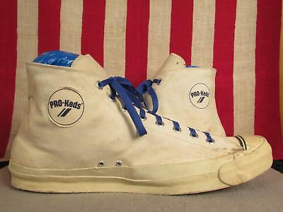 Vintage 1960s Pro Keds Canvas High-Top Basketball Sneakers Shoes Huge! Sz 17