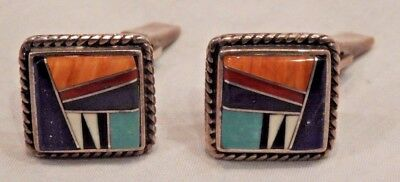 Vintage Sterling Silver Men's Cufflinks with Multi Colored Stone Inlay